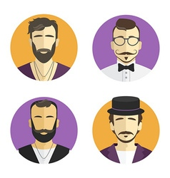 Different men hipster avatar set collection vector image vector image