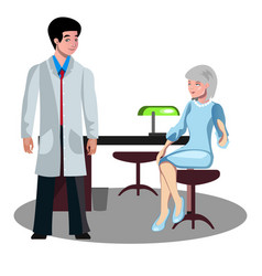 doctor talking with elderly patient vector image