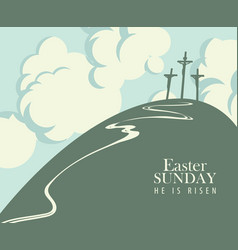 Easter banner with calvary and three crucifixions vector
