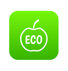 eco apple icon digital green vector image