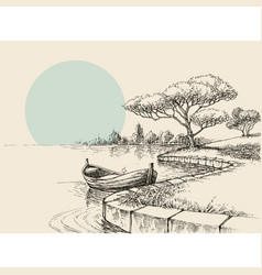 Empty boat on shore in park relaxation vector