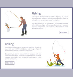 Fishing posters set males vector