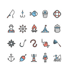 Fishing sport and leisure color icon thin line set vector