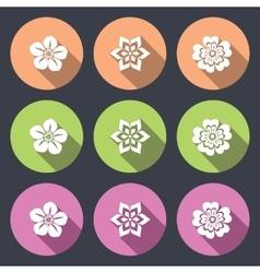 Flower icon set Petunia daisy orchid primula vector
