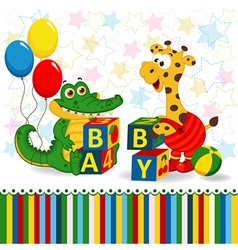 giraffe and crocodile baby blocks vector image
