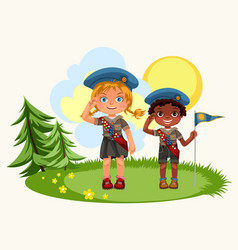 Girl and boy saluting standing on green meadow vector