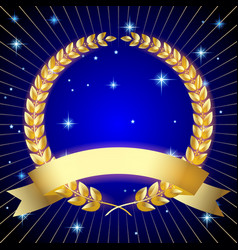 gold laurel wreath with a ribbon on dark blue vector image