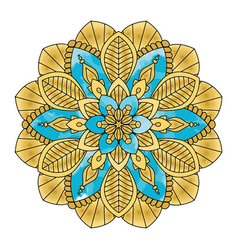 Golden floral mandala vector
