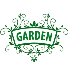 Green logo ornament from plants for the garden vector