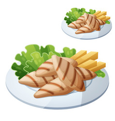 Grilled chicken strips vector