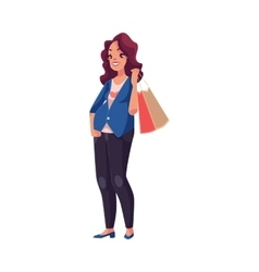 Half turned young pregnant woman holding shopping vector image