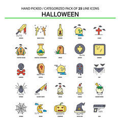 Halloween flat line icon set - business concept vector