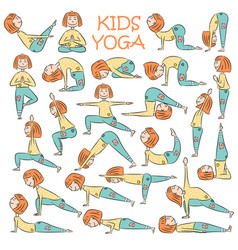 Hand-drawn yoga kids set vector