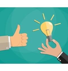 Hand thumb up with bulb light vector image