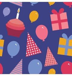 Happy birthday seamless pattern flat style set vector image