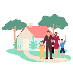 Happy family in front their house vector