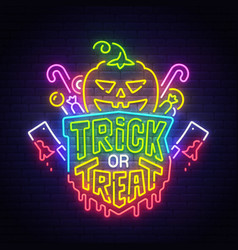 happy halloween neon sign bright signboard vector image