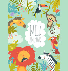 happy jungle animals creating a framed background vector image