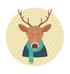 hipster deer with glasses and scarf vector image