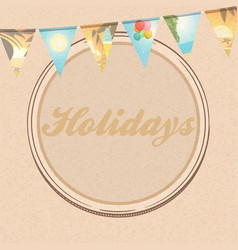 Holidays brown paper background with bunting vector