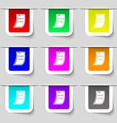 Homework icon sign Set of multicolored modern vector