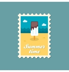 Ice Cream flat stamp summertime vector