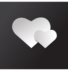icon Black and white two hearts vector image