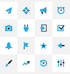 Interface icons colored set with history plug vector