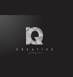 Iq i q letter logo with zebra lines texture vector