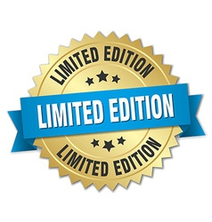 Limited edition 3d gold badge with blue ribbon vector