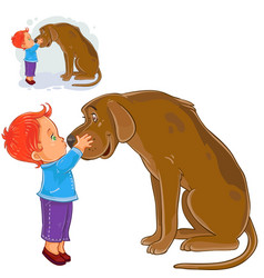Little boy hugging head and kissing nose vector
