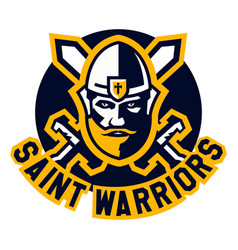 Logo saint warriors face knight paladin viking vector