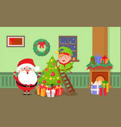 merry christmas santa claus and elf at home room vector image