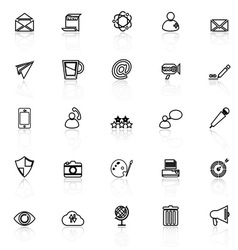Message and email line icons with reflect on white vector image