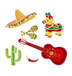 Mexican set sombrero pinata maraca cactus vector