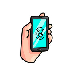 Modern smartphone device with fingerprint security vector