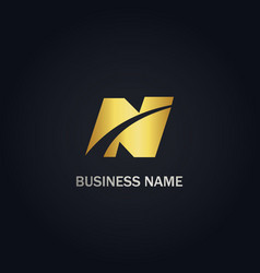 n initial business company gold logo vector image