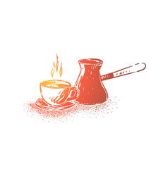 Natural arabic coffee preparation equipment vector