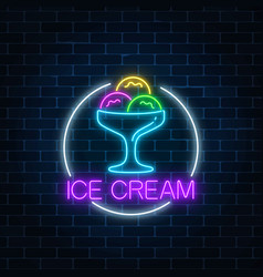 Neon glowing sign of icecream in circle frame on vector