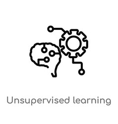 Outline unsupervised learning icon isolated black vector