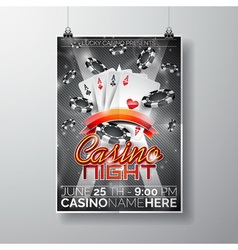 Party Flyer design on a Casino theme with cards vector image
