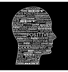 Positive mind over black background vector