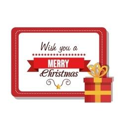 postcard and box gift merry christmas design vector image