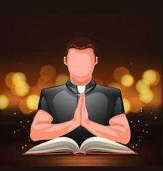 priest praying with book vector image