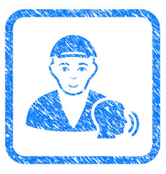 Psychotherapist talking framed stamp vector