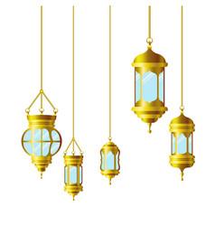 Ramadan kareem lantern hanging icon vector