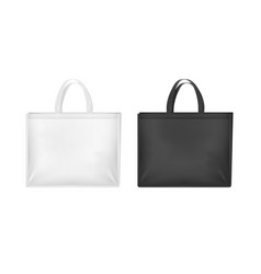 Realistic 3d detailed white and black blank tote vector