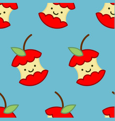 red apple core cute cartoon pattern rest of fruit vector image