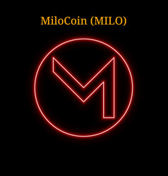 Red neon milocoin milo cryptocurrency symbol vector