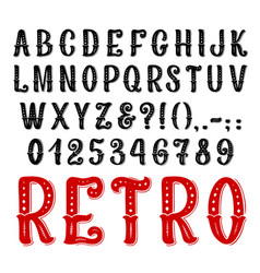 retro decorative font full symbols and letters vector image